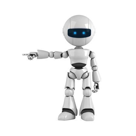 robot: Robot divertido quedarse y mostrar atenci�n de mano y dedos