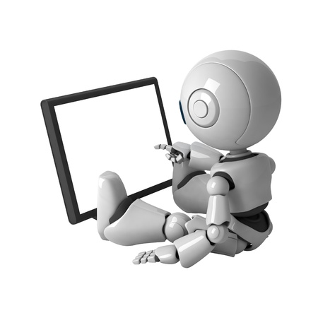 Funny robot sit and monitor Stock Photo - 10065462
