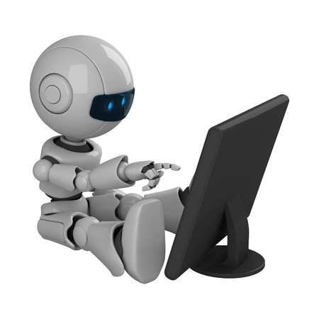 robot: Funny robot sit and monitor