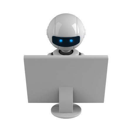 Funny robot sit and monitor