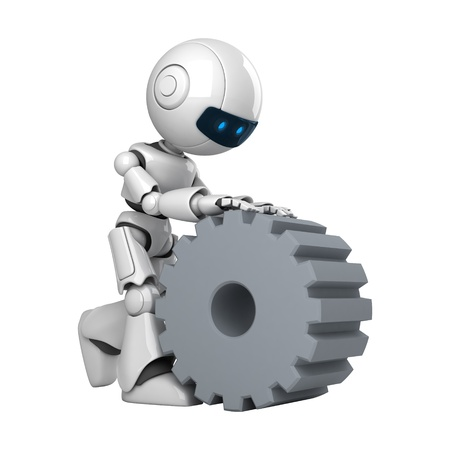 Funny robot walk with cogwheel  photo
