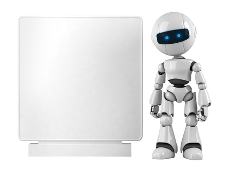 Funny robot stay with blank banner Stock Photo - 10065448