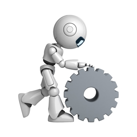 Funny robot walk with cogwheel