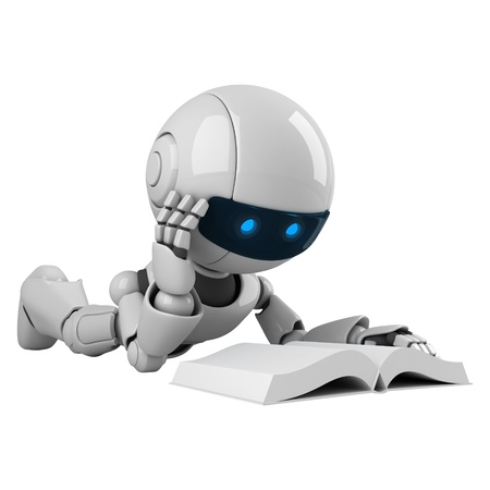 robot: Funny robot lie and read book  Stock Photo