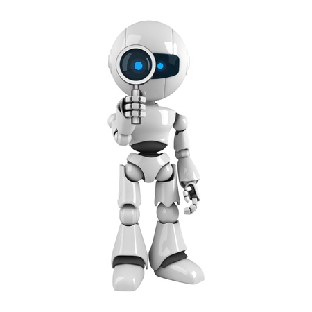 robot: Funny robot with magnifying glass  Stock Photo