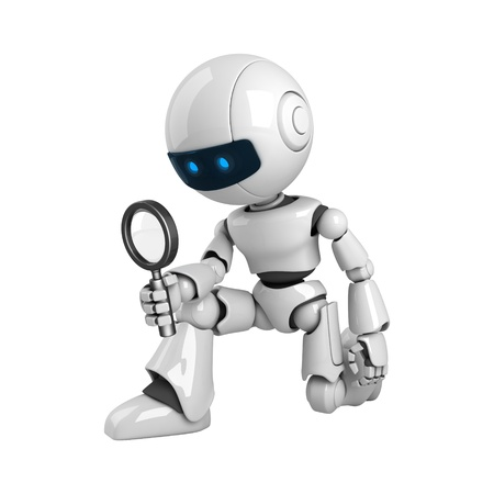 Funny robot with magnifying glass  Stock Photo