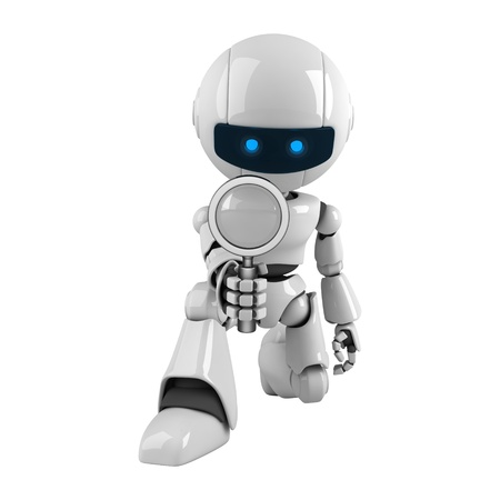 funny robot: Funny robot with magnifying glass  Stock Photo