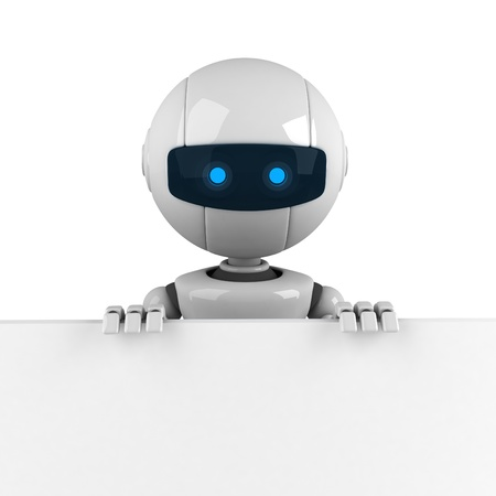 Funny robot stay with blank banner Stock Photo - 10065313