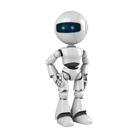 Funny robot stay and look photo