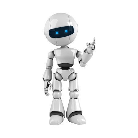 Grappige robot verblijf en de aandacht tonen uit de hand en vingers