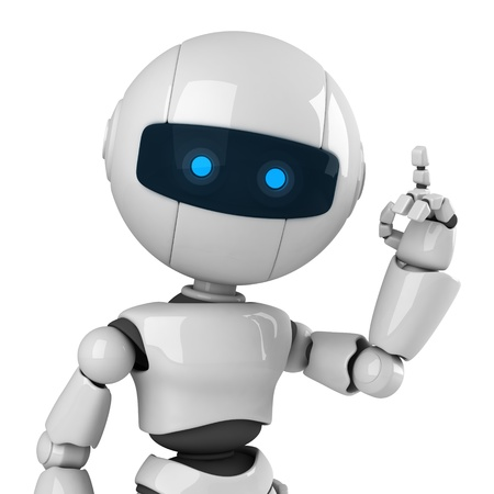 Funny robot stay and show attention from hand and fingers photo