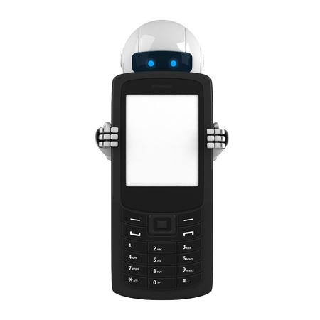 Funny robot stay with mobile phone  photo