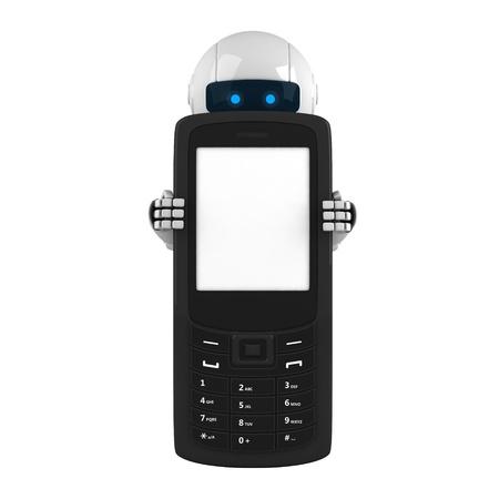 funny robot: S�jour du robot dr�le avec un t�l�phone mobile