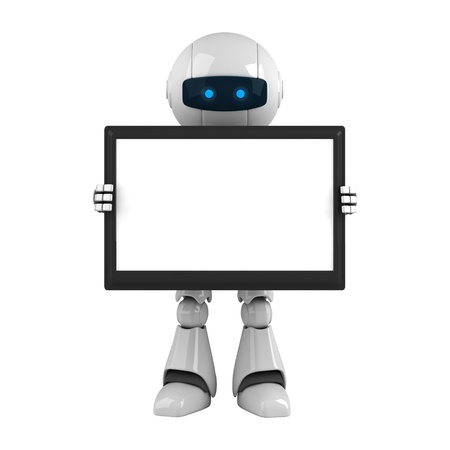Funny robot hold digital tablet computer Stock Photo - 10065260