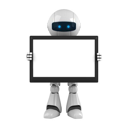 funny robot: Robot dr�le hold ordinateur tablette num�rique