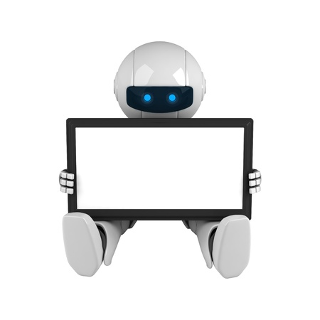 robot: Funny robot hold digital tablet computer Stock Photo