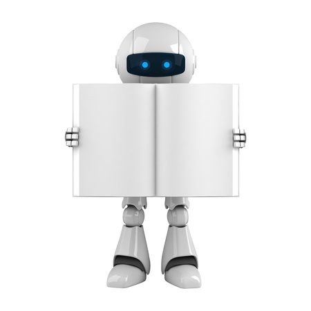 Funny robot stay with blank book  photo