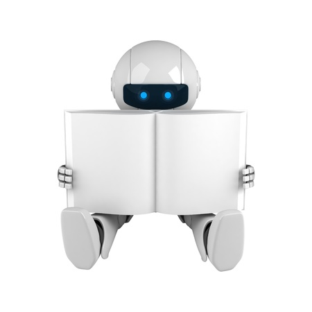 funny robot: Funny robot sit with blank book  Stock Photo