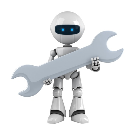 Funny robot stay with wrench photo