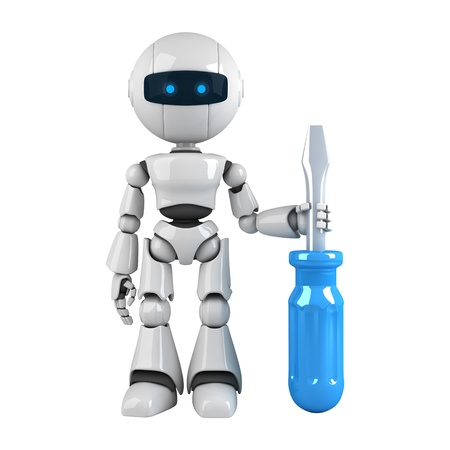 robot: Funny robot stay with screwdriver