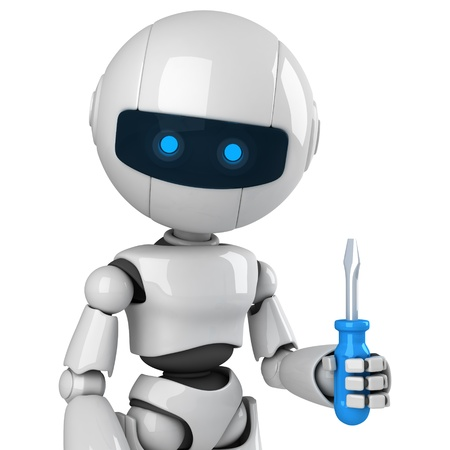 screwdriver: Funny robot stay with screwdriver