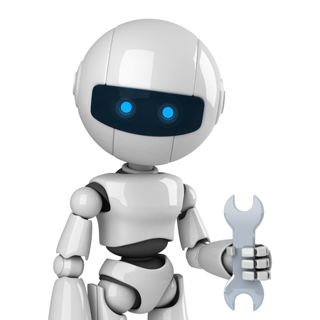 robot: Funny robot stay with wrench