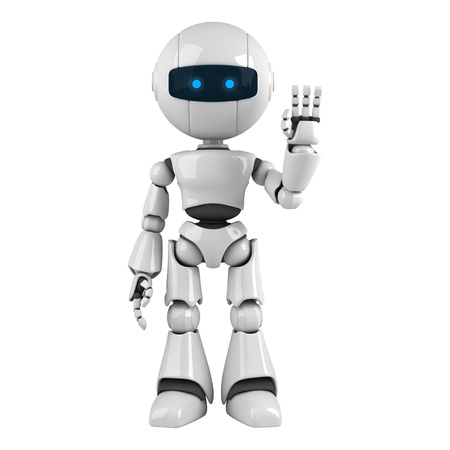 Funny robot stay and show hello photo