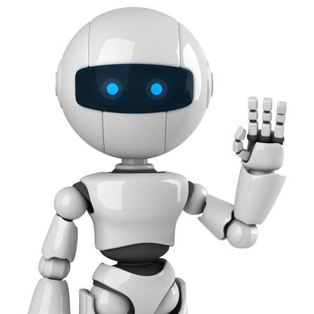 hi: Funny robot stay and show hello