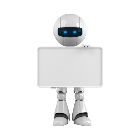 Funny robot stay with blank banner Stock Photo - 10065261