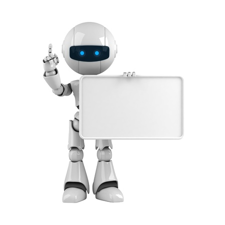 Funny robot stay with blank banner Stock Photo - 10065331