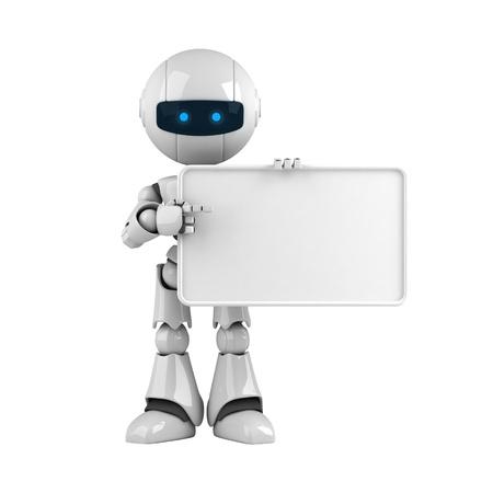 robot: Estancia del gracioso robot con banner en blanco  Foto de archivo