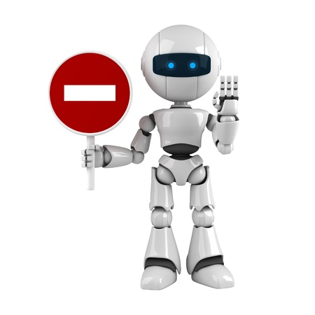 robot: Funny robot stay with road sign and show stop