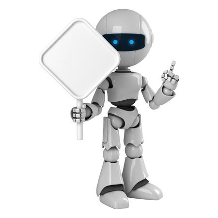 robot: Estancia del gracioso robot con signo en blanco  Foto de archivo
