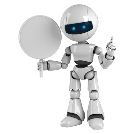 Funny robot stay with blank sign Stock Photo - 10065479