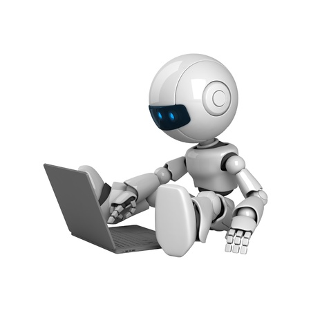Funny robot stay with notebook Stock Photo - 10065439