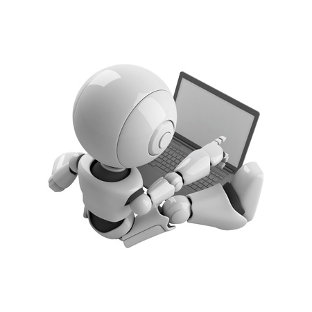 Funny robot stay with notebook photo