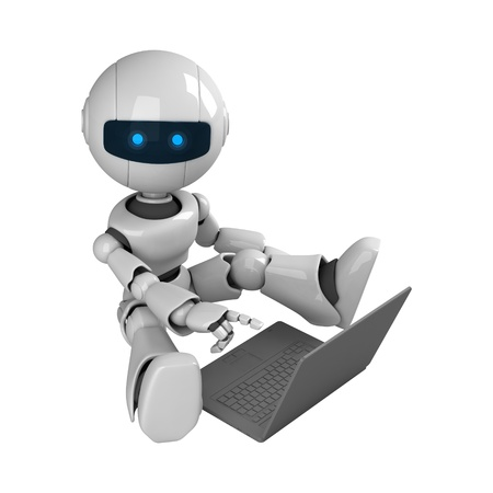 robot: Funny robot stay with notebook