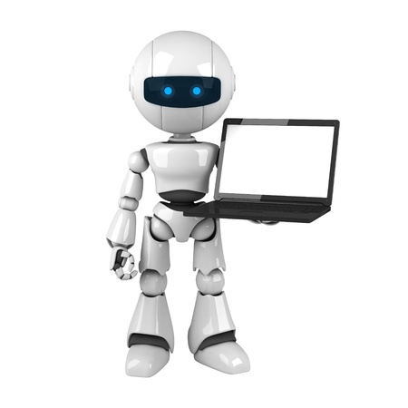 Funny robot stay and hold notebook Stock Photo - 10065397