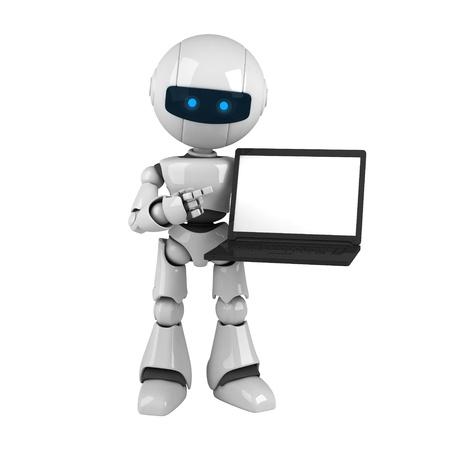funny robot: Robot dr�le rester et tenir portable Banque d'images