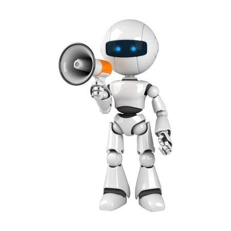 talking robot: Robot blanco divertido quedarse con meg�fono  Foto de archivo