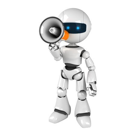 talking robot: Curioso robot blanco quedarse con meg�fono