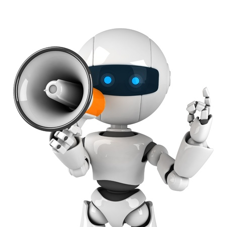 funny robot: Funny white robot stay with megaphone