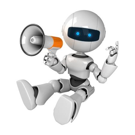 talking robot: Robot blanco divertido sentarse con meg�fono
