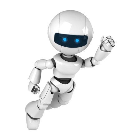 Funny white robot fly as super hero
