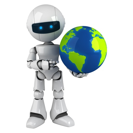 Funny white robot sit with globe and point Stock Photo - 10065486