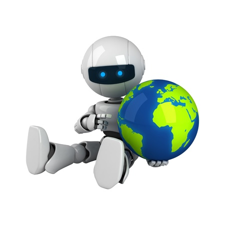 Funny white robot sit with globe  Stock Photo - 10065471