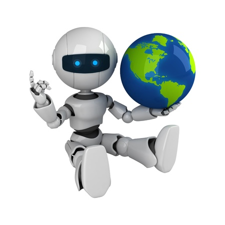 Funny white robot sit with globe Stock Photo - 10065488