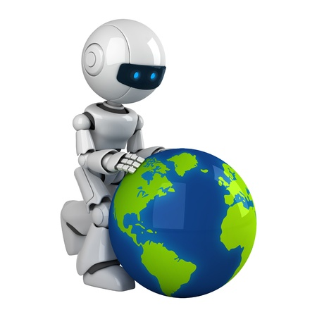robot: Funny white robot walk with globe