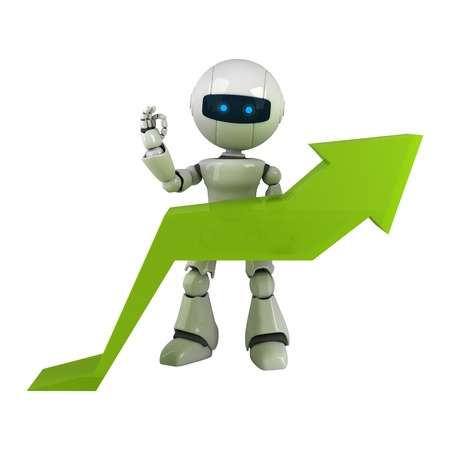 Funny white robot stay with graph arrow  Stock Photo - 10065341