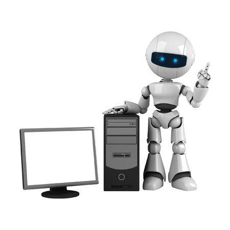 Funny white robot stay with computer  Stock Photo - 10065211